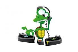 cartoon dj turtle mixing vector