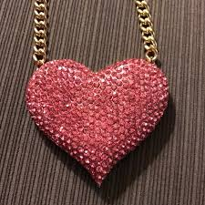 pink rhinestone gold heart necklace