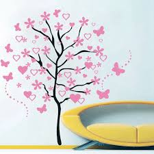 Huge Cartoon Heart Tree Butterfly Wall Decals Removable Wall Decorative Stickers For Girls Kids Living Room Bedroom Decor Wall Stickers Aliexpress