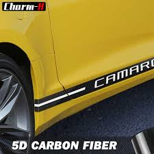 Car Styling Door Side Skirt Racing Stripes Carbon Fiber Vinyl Decal For Chevrolet Camaro Rs Ls Ss 2010 2018 Stickers Accessories Car Stickers Aliexpress