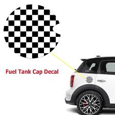 Vinyl Sticker Decal For Mini Cooper Gas Cap Cover Black White Checkere Xotic Tech