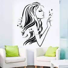 Hot Fashion Girl Wall Decals Pretty Woman With Flower Sexy Female Art Vinyl Wall Sticker Home Bedroom Beautiful Decor M 76 Girl Wall Decal Wall Decalswall Sticker Aliexpress