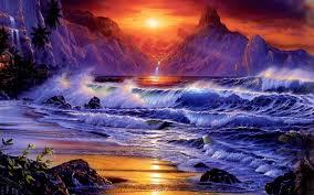 ocean sunset wallpaper on wallpaperget