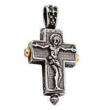 st101 crucifix reliquary silver gold
