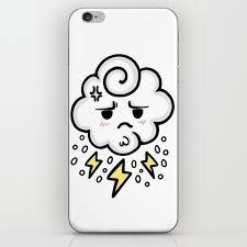 Cloud Rain Spark Cute Sticker Stickers Iphone Ipad Galaxy Case Cover Skin Love 2018 Yellow White Sad Iphone Skin By Abllo Society6