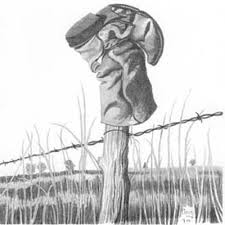 Fence Post Old Boot Pencil Sketch