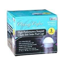 Classy Caps Silver Chainlink Summit Solar Post Cap Led Post Cap 2 Pack Ch2233s The Home Depot