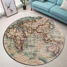 Kids Room Area Rugs Retro Globe Map Floor Beach Mat Home Round Yoga Soft Carpet 8 99 Picclick