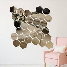 12pcs 3d Mirror Hexagon Vinyl Removable Wall Sticker Decal Home Decor