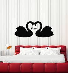 Vinyl Wall Decal Couple Swans Birds Love Romance Bedroom Stickers Mura Wallstickers4you