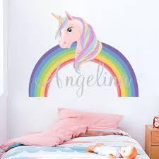 Cartoon Unicorn Rainbow Wall Decal Wall Sticker Kids Nursery Home Decor Unicorn Wallpaper Home Wall Art Wish