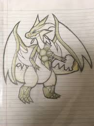 I drew a fusion of Ultra Necrozma and Mega Charizard Y in school today.  Constructive criticism is much appreciated! : pokemon
