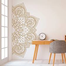 Mandala In Half Wall Sticker Home Decor Living Room Removable Vinyl Stickers For Meditation Yoga Wall Art Decals Mural D261 Bemmengurun