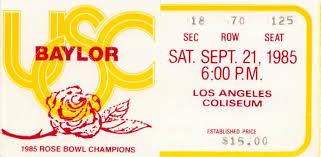 1985 Usc Baylor Football Ticket Stub Wall Art Row One Brand