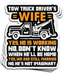 Amazon Com Lucky Star 3 Pcs Stickers Tow Truck Driver S Wife We Are Still Married Wife 4 3 Inch Die Cut Wall Decals For Laptop Window Home Kitchen