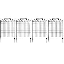 Amazon Com Giantex 2 Panels Garden Fence Folding Decorative Border Fence Set 52 X 6 Coated Steel Border Folding Fence Black 52 X36 2 Pieces Garden Outdoor