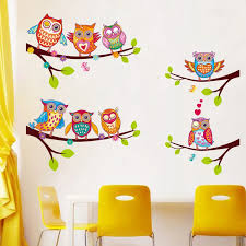 Colorful Owls Cartoon Wall Stickers Owls On The Tree Children Room Home Decor Wall Decals Wall Stickers For Kids Rooms Removable Stickers Owl Wall Sticker Owlsticker For Kids Room Aliexpress