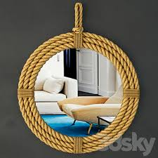 3d models mirror round hanging rope