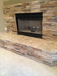 stacked rock fireplace with tumbled