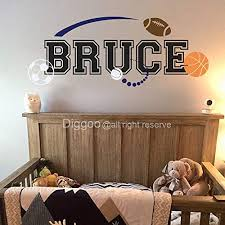 Personalized Sport Wall Decals Boys Name Wall Decal Basketball Football Soccer Baseball Wall Decor Boys Room Kids Room Decor 15 5 H X 40 W Plus Free Welcome Door Decal Buy Online