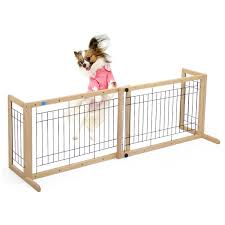 Buy Lazymoon Dog Gate Adjustable Indoor Solid Wood Construction Pet Fence Gate Free Standing Natural Finish In Cheap Price On Alibaba Com