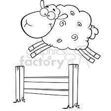 Royalty Free Rf Clipart Illustration Black And White Funny White Sheep Jumping Over The Fence Clipart Commercial Use Gif Jpg Png Eps Svg Ai Pdf Clipart 395392 Graphics Factory
