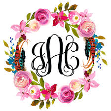 Boho Watercolor Monogram Wreath Window Decal Bumper Sticker Car Window Decal Vinyl Car Decal Yeti Tumbler Decal Wall Decal Laptop Decal Peel And Stick Vinyl Decals