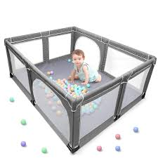 Amazon Com Yobest Baby Playpen Extra Large Play Yard For Infants Sturdy Safety Infant Playard Indoor Outside Big Toddler Play Pen With Gates Portable Babys Fences For Babies Infant Kids Childs