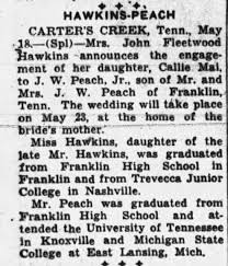 Peach, J. W. & Hawkins, Callie Mai: Hawkins-Peach Engagement Announcement -  Newspapers.com