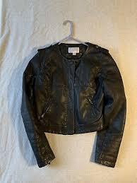 faux leather jacket black size large