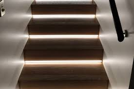 led strip lights set into stair risers
