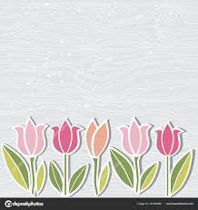 Hand Drawn Wooden Imitation Textured Background Tulip Flowers