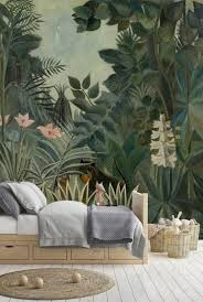 Peel And Stick Wallpaper Leaves Jungle Wallpaper Kids Etsy