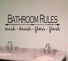 Bathroom Rules Vinyl Decal Wall Decal Wall Sign Home Decor Home Decal Bathroom Decal Bath Wall Wash Brush Flush Floss Decal