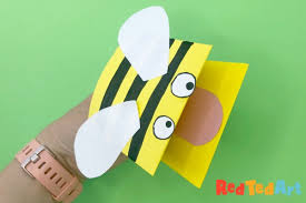 Easy Bee Hand Puppet Made from Paper - Red Ted Art - Make crafting ...