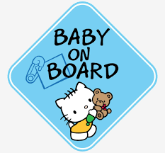 Blue Boy Hello Kitty Baby On Board Window Decal Sticker Vinyl Graphics New 7 50