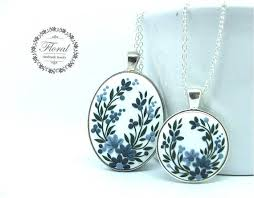 polymer clay necklace pendant set