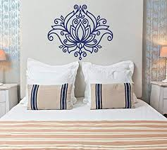 Amazon Com Americanvinyl Beautiful Lotus Flower Wall Decal Yoga Mandala Vinyl Decal Morrocan Pattern Boho Bohemian Bedroom Decor Floral Boho Car Window Decal Lo11 Kitchen Dining