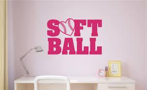 Softball Love Vinyl Decal Wall Stickers Teen Room Sports Decor