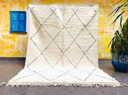 white and black beni ourain rug wool