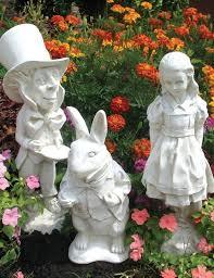 alice in wonderland statue set white