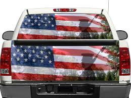 Product Us Usa Americans Military Veterans Rear Window Or Tailgate Decal Sticker Pick Up Truck Suv Car