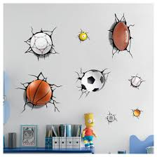 3d Basketball Cracked Wall Large Wall Stickers Kids Room Wall Decal Favors