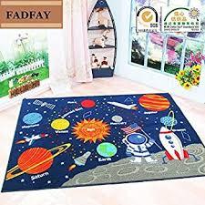 Amazon Com Huahoo Kids Rug Educational Learning Carpet Galaxy Planets Stars Blue Children S Fun Area Rug Nursery Rugs Solar System Rectangle Rug Stars 39 X51 Home Kitchen