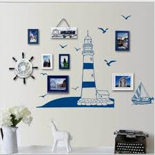 Blue Ocean Lighthouse Seagull Photo Frame Diy Wall Stickers Home Nautical Decor Wall Art Bedroom Living Room Free Shipping Wall Sticker Living Roomstickers Home Aliexpress
