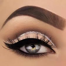 eyes makeup silver glitter cut crease