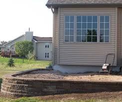 raised patio with retaining wall blocks