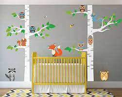 Amazon Com Birch Tree Wall Decal Forest With Owl Birds Squirrels Fox Porcupine Racoon Vinyl Sticker Woodland Children Decor Removable 1327 84 7 Ft Tall White Trees Home Improvement