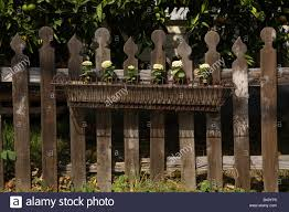 Victorian Decorative Wooden Picket Fence With Wire Flower Box Stock Photo Alamy
