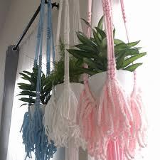 Pink Macrame Plant Hanging Kids Room Decorations Window Decorations Knotisfaction On Artfire